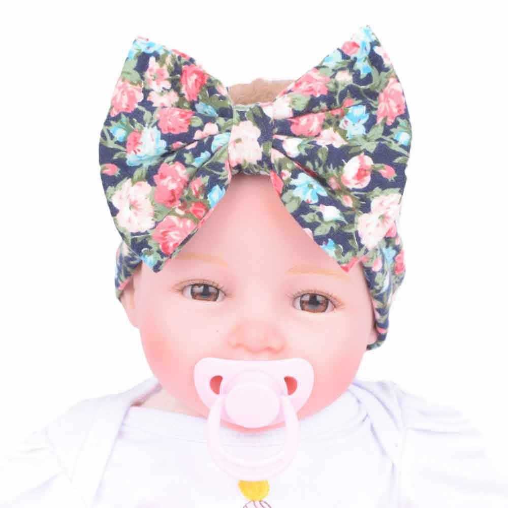 Accesorios de pelo para niño bebé niñas niños diadema con lazo y estampado de flores turbante para bebé recién nacido diadema para niña