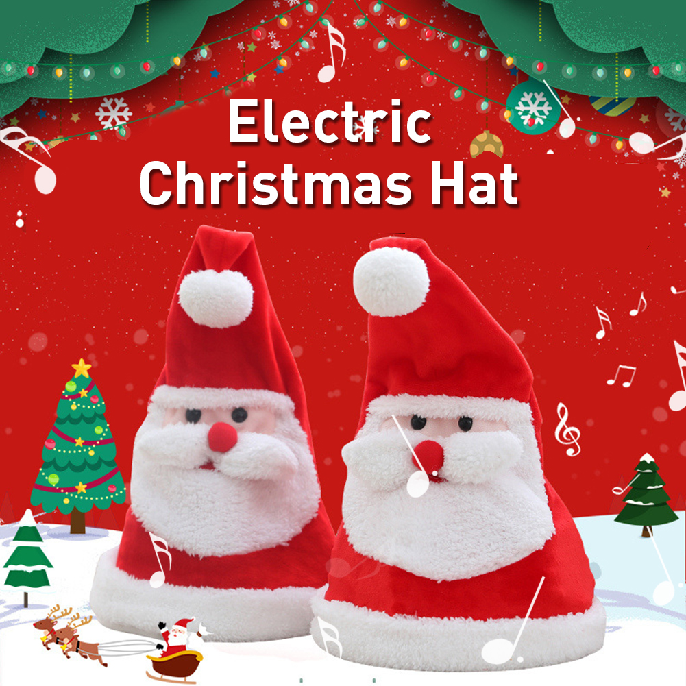 AUGKUN Electric Christmas Hat Plush Toys Growing Sing Swing Santa Claus Hat For Christmas Decoration Gift Happy Christmas Songs image