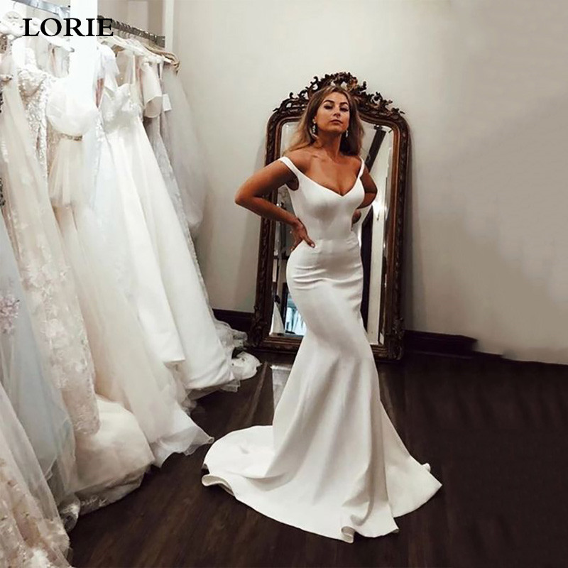 LORIE Mermaid Wedding Dress 2020 Off The Shoulder V Neck Bride Dress Soft Satin Wedding Gowns Vestido De Voiva