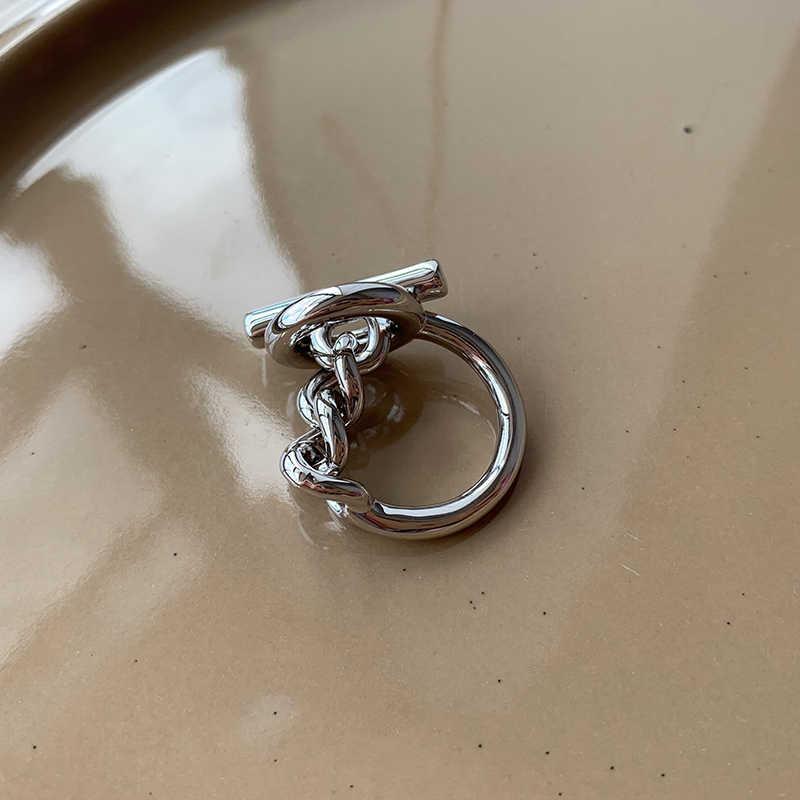 Peri'sBox Hollowed OUT สลับ Clasp Twisted แหวนโซ่วงกลมบาร์แหวนเรขาคณิตสำหรับผู้หญิง Minimalist แหวนเครื่องประดับ 2019