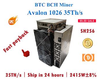 Darmowa wysyłka BTC BCH górnik Avalon 1026 35Th s sha256 bardziej ekonomiczne niż AntMiner S17 + S17e T17 + whatsminer M31S 56T 68T 85T tanie i dobre opinie YUNHUI CN (pochodzenie) 2415W h -+8 10 100 1000 mbps used Avalon 1026 35Th