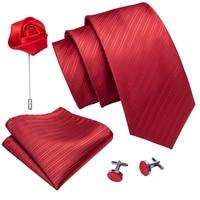Red Solid Striped Wedding Tie For Men Silk Necktie Brooch Handkerchief Set Fashion Designer Tie For Men Groom Gift Dropshipping