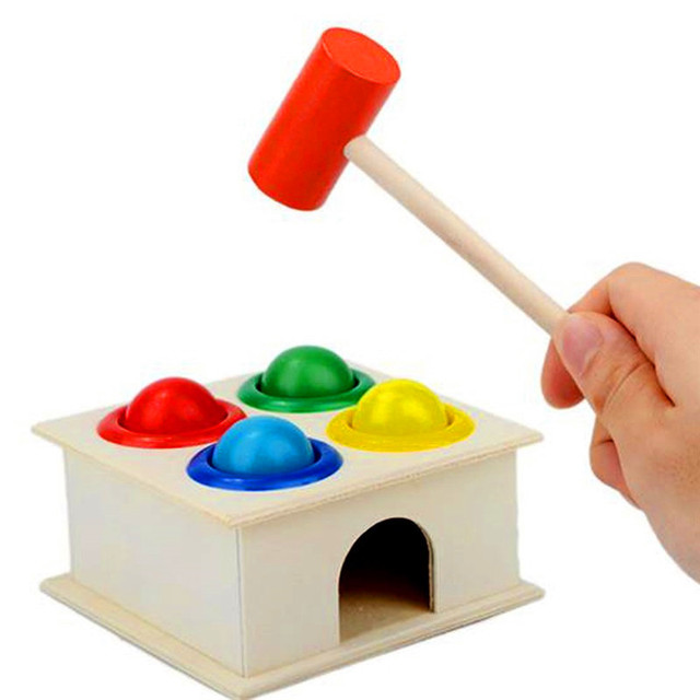 1Set Wooden Hammering Ball Hammer Box Children Fun Playing Hamster Game Toy Early Learning Educational Toys 4