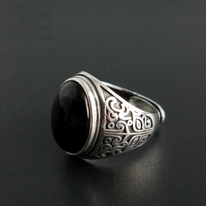 Image 2 - אמיתי 925 כסף שחור גרנט S925 טבעת לגברים נשי חקוק פרח קלאסי פתוח גודל טבעת סטרלינג תאילנדי תכשיטי כסף