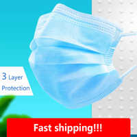 50/100/200 Pcs 3 Ply Face Mask Disposable Protective Safety Masks Anti Pollution Non-Woven Mouth Mask Melt-blown Fabric Mask