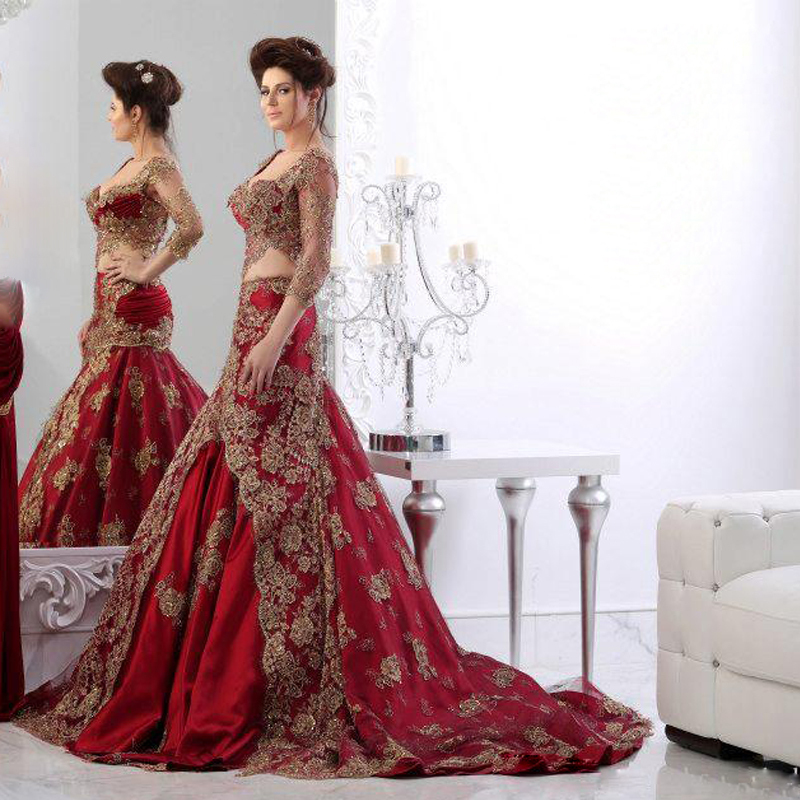 2018 Two Piece Mermaid Evening Gown Beaded Appliques Luxury Formal Dubai Kaftan Plus Robe De Soiree Mother Of The Bride Dresses