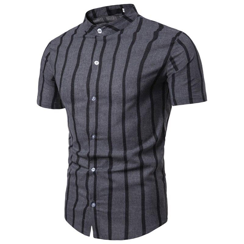 NEGIZBER Brand Fashion Clothes Men Shirts Slim Fit Striped Stand Collar Cotton Linen Shirt Short Sleeve Top Shirt Men