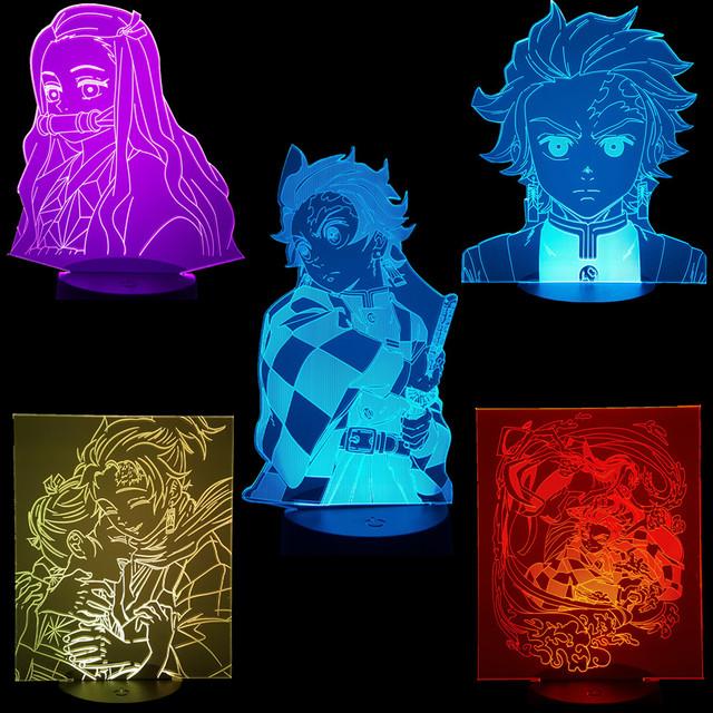 Demon Slayer 3D Visual Led Action Figures Tanjirou Nezuko Anime Kimetsu no Yaiba RGB Color Changing Model Toys For Xmas Gift