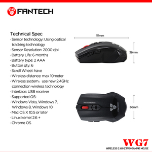 Image 5 - FANTECH WG7 Wireless 2.4GHz Mouse 2000 DPI 6 Macro Optical Mice 2.4 GHz 10M Remote Control Distance Mouse Gamer