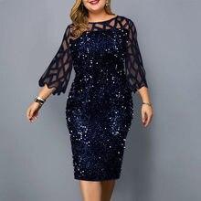 Вечерние платья с блестками размера плюс женское платье 2021 Сетчатое облегающее платье с длинным рукавом свадебное вечернее вечерние Клубн...