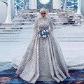 Luxury Dubai Crystal Muslim Bridal Dresses Full Sleeves High Collar Vintage Beaded Lace Wedding Gowns Vestido De Noiva