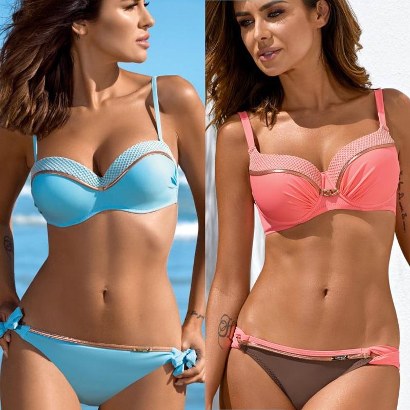 Solid Bikini Swimwear Women Bikinis 2020 Bikini Set Brazilian Bathers Beachwear Plus Size Female Two-piece Suit  Biquini Sexy