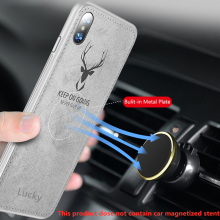 Cloth Texture Deer 3D Soft Magnetic Car Case For Huawei Y7 Pro 2019 Magnet Plate Cover Silicon Funda Etui