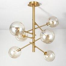 Art Deco Glass Ball Chandelier Lighting Modern Living Room Chandelier Light  Designer Golden Light Fixture /LED Lamp