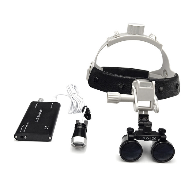 2.5X 3.5X Helmet Dental Loupes Binocular Magnifying Glass with Rechargeable LED Spotlight Headband Dentist Surgical Loupe