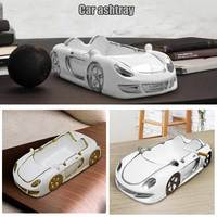 1pc Ceramic Car Shaped Ashtray Simple Racer Ash Tray Ornaments Home Decoration E2S