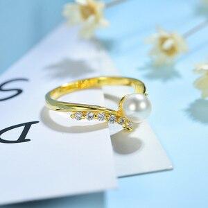 Image 2 - Kuololit 100% Moissanite 10K żółte złote pierścionki dla kobiet okrągły prawdziwy biały perła słodkowodna pierścionek zaręczynowy panna młoda prezent