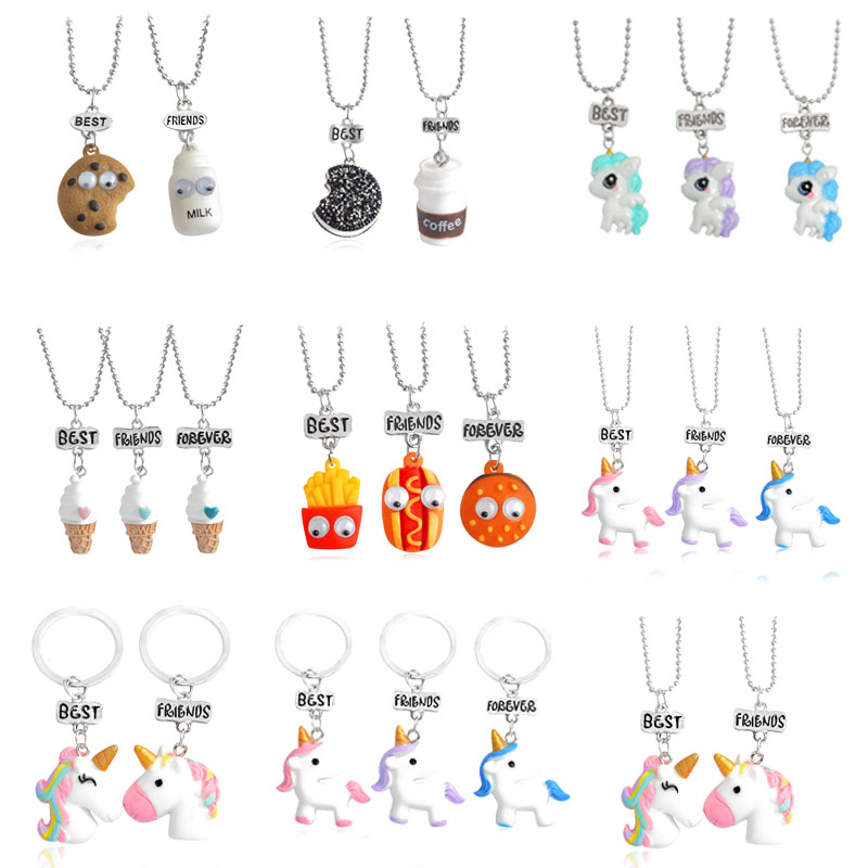Fashion New 3 Pieces / Set Best Friends Cute Resin Pendant Necklace Lady Unicorn Milk Biscuit Fries Necklace BFF Couple Jewelry