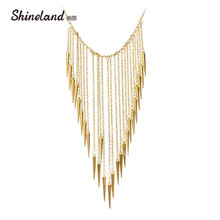 US $1.49 25% OFF|2019 New Collar Fashion Rivet Pendant Necklace For Women Vintage Long Tassels Choker Necklace Punk Chain Gold color Jewelry-in Chain Necklaces from Jewelry & Accessories on AliExpress