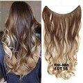 24 дюйма 50 грамм 100 г синтетические волосы наращивание постепенное Цвет Коричневый и серый цвет блонд строка Halo шиньоны волос для наращивани...