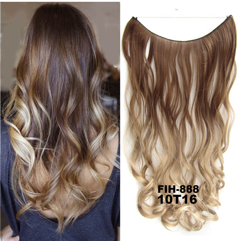 24inch 50grams Flip In Synthetic Hiar Extension Gradual Color Brown Gray Blonde String Halo Hairpieces