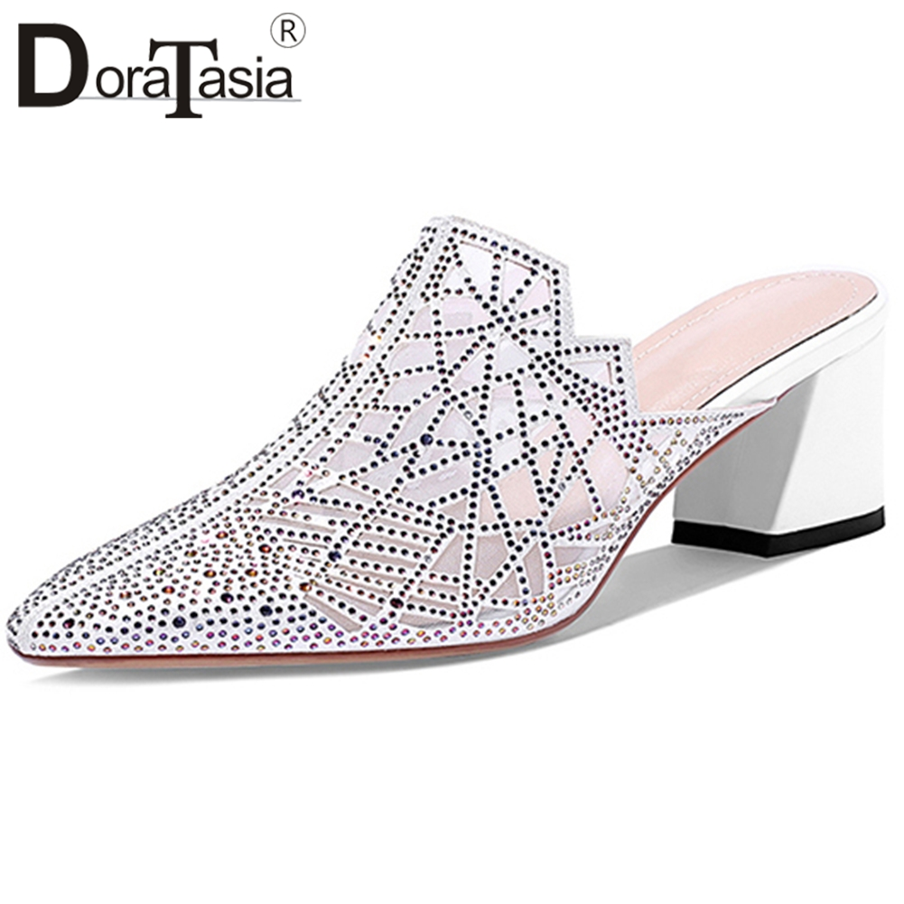DORATASIA Ins Fashion Female Pumps Summer Casual Wedding Party Mules Women Crystal Bling Sequined Cloth Shoes Woman