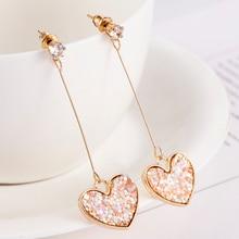 Fashion Simple Gold Color Long Tassel Drop Dangle Earrings for Women Heart Earrings Personality boucle d'oreille pendient