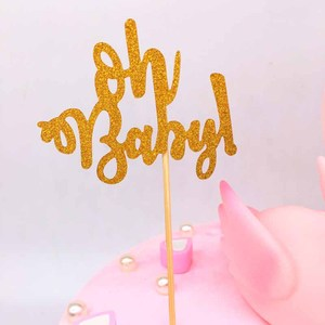 Image 2 - 10pcs Glitter Gold Oh Baby Cupcake Toppers Oh Boy Girl Baby Shower Ballon 1st Happy Birthday Cake Decoration Kids Party Supplies