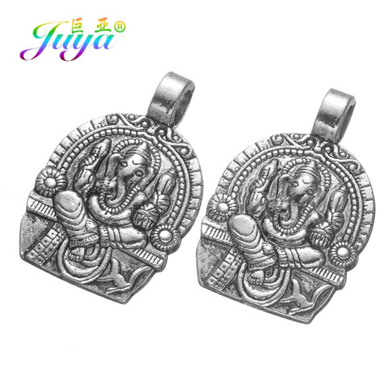 Juya 4 יח'\חבילה סיטונאי ממצאי דתי עתיק כסף צבע הינדואיזם גנש קסם תליוני עבור תכשיטי ביצוע ספקי
