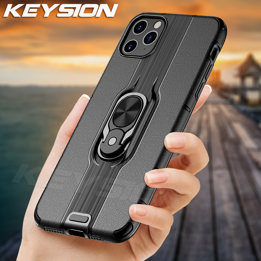 KEYSION Shockproof <font><b>Armor</b></font> <font><b>Case</b></font> <font><b>for</b></font> <font><b>IPhone</b></font> 11 Pro <font><b>Max</b></font> 2019 <font><b>Case</b></font> Stand Car Ring Phone Cover <font><b>for</b></font> IPhone11 <font><b>XS</b></font> <font><b>Max</b></font> XR <font><b>X</b></font> 8 7 Plus Cover image