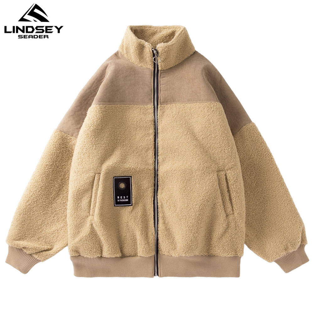 LINDSEY SEADER Men's Winter Cashmere Wool Jacket Stand Collar Zipper Warm Patchwork Coat Windbreaker Streetwear for Men Clothing|Jackets| - AliExpress