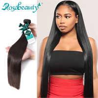 Rosa beauty Color Natural pelo largo peruano liso cabello humano tejido 3 4 mechones pelo virgen sin procesar 6-30 28 pulgadas