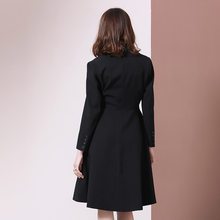 Long sleeve Elegant Blazer Dress Women 2020 Autumn Winter Suit Jacket Coat Slim Dresses Female Black Knee Length Office Lady(China)