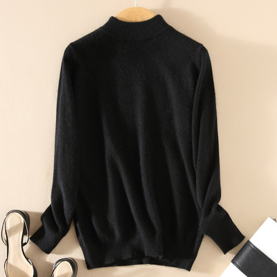 Women Cashmere 2021 New Autumn Winter Vintage Half Turtleneck Sweaters Plus Size Loose Wool Knitted Pullovers Female Knitwear11 24
