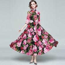 ZUOMAN Women Spring Elegant Floral Dress Festa High Quality Long Maxi Vintage Party Robe Femme Designer Chiffon Vestidos