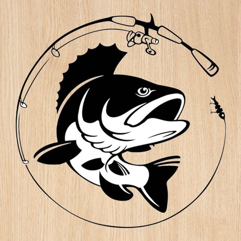 14.1 CENTIMETRI * 14.3 CENTIMETRI Canna Da Pesca Hobby Pesce Autoadesivo Dell'automobile Del Vinile Nero Bianco