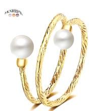 YKNRBPH צהוב 14K זהב מתכוונן פרל טבעת לנשים של חתונות טבעות תכשיטים