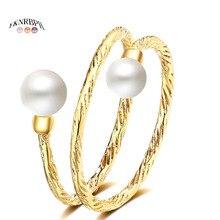 YKNRBPH jaune 14K or réglable bague perle pour les mariages de femmes bagues de bijoux fins