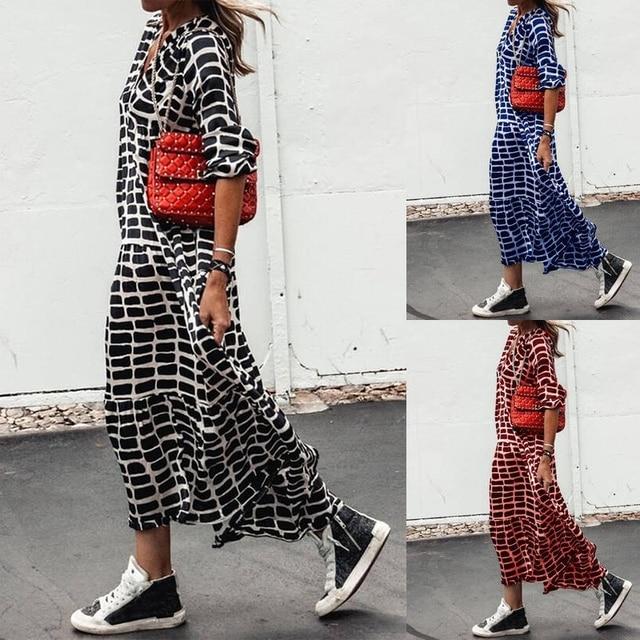 2021 Holidays Boho Dress Women Casual Chic Print Loose Dresses V Neck A-Line Long Sleeve Maxi Dress Female Vestido De Mujer 5