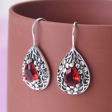 KOFSAC New Vintage Thai Silver Earrings For Women Party Fashion Jewelry Elegant Crystal Red Drop Shape Carved Flower