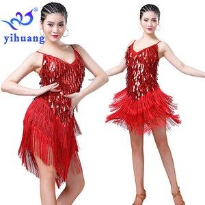 Image 3 - Robe de danse latine pour femmes, en sequins, robe à franges années 1920, robe à rabat, pour fête, tenue fantaisie, pour compétition de danse