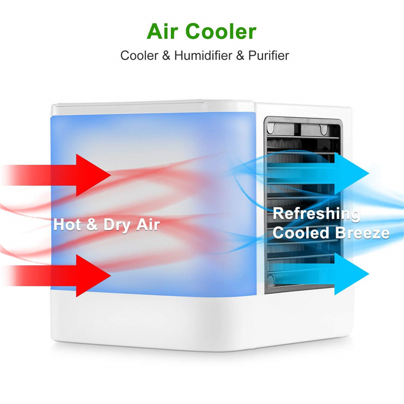 Electric Humidifier LED Mini Air Conditioners Cooling Table Fans Portable Low Noise Small Space Cooler 3 Gears Wind Evaporative