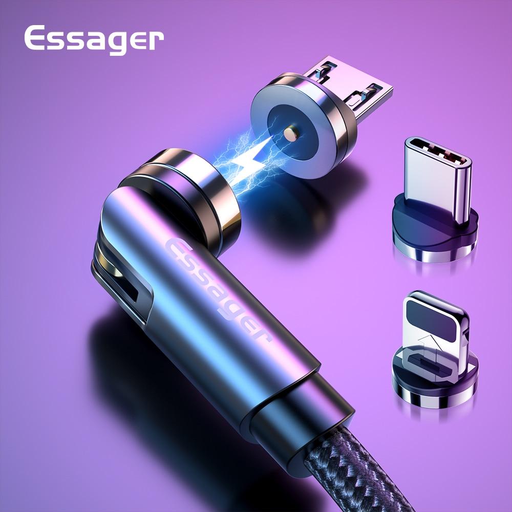 Essager girar cabo magnético 360 graus usb tipo c cabo de carregamento rápido carregador ímã 540 girar micro cabo magnético|Cabos flexíveis de celular|   - AliExpress