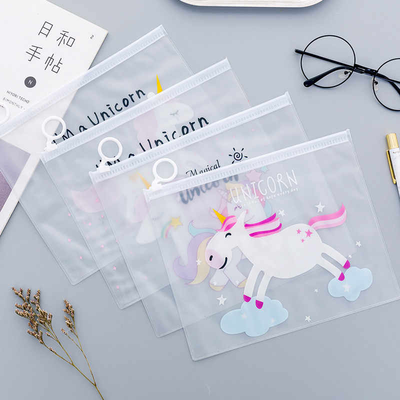 Unicorn Party Favors Cute Pencil Case Transparent PVC Cosmetic Bag For Girl Kids Birthday Christmas Guest Gifts