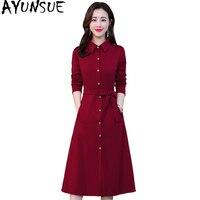 AYUNSUE 2020, женское весеннее платье, элегантное платье-рубашка с длинным рукавом, женские красные вечерние платья миди, приталенные платья A68 ...