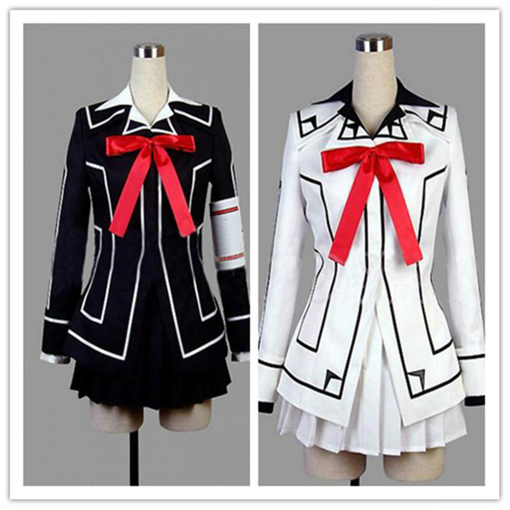 Vampire Knight Cosplay Yuki ou Preto Das Mulheres Cruz Vestido Branco uniforme