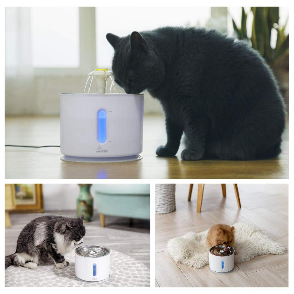 Pet Cat Fountain 2 4L Drinking Window LED Automatic Dog Cat Water Drinking Bowl USB Pet Drinking Dispenser With 3 Carton filters in Cat Feeding Watering Supplies from Home Garden