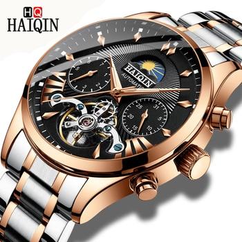 HAIQIN luxe Automatische Mechanische Mannen Horloge klassieke Zakelijke Horloge mannen Tourbillon Waterdicht Mannelijke Horloge Relogio Masculino