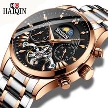 HAIQIN الفاخرة التلقائي الميكانيكية الرجال ساعة رجال الأعمال الكلاسيكية ساعة توربيون مقاوم للماء الذكور ساعة اليد Relogio Masculino