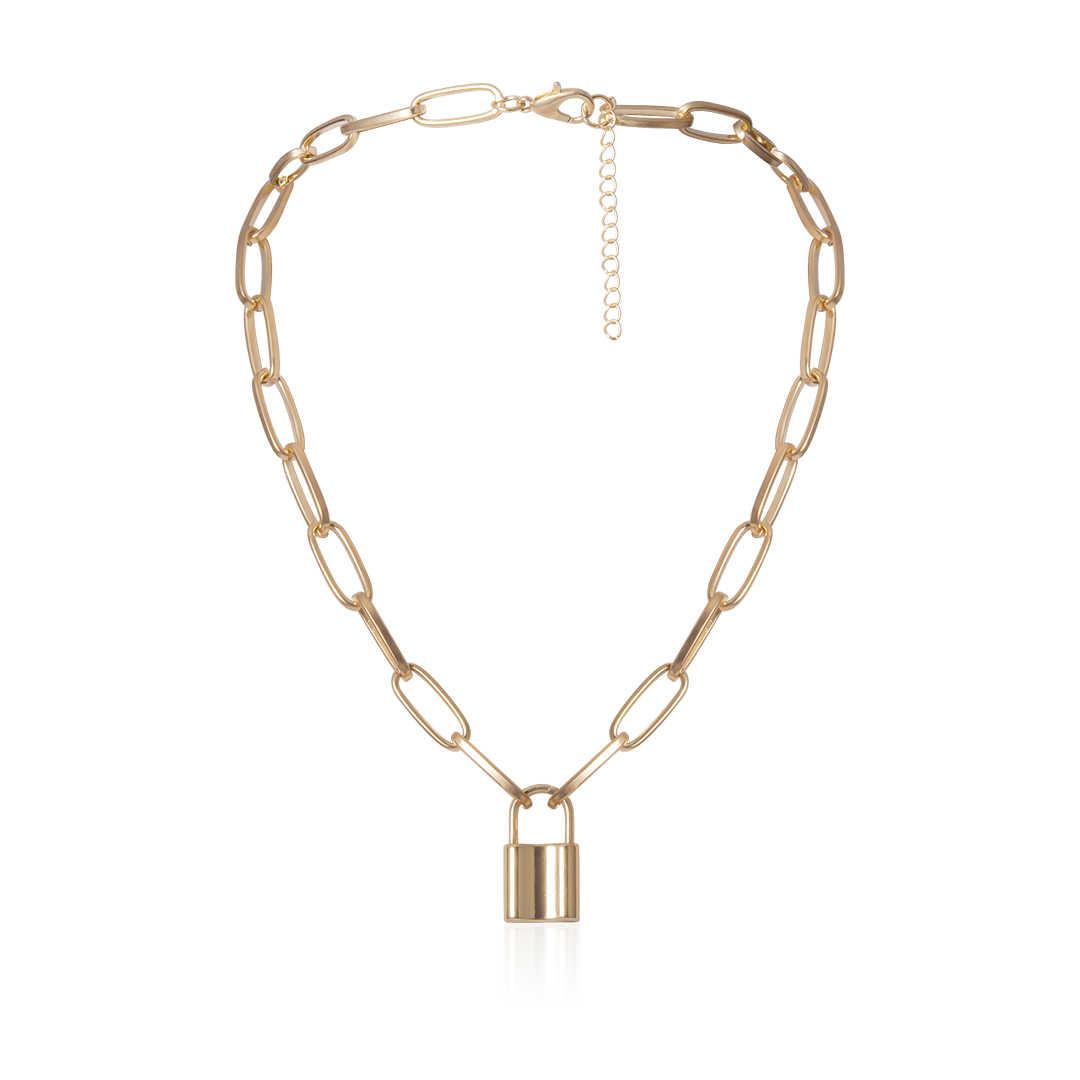 Shixin punk simples cadeado pingente colar hiphop moda bloqueio colar para mulher ouro/prata chunky colar corrente no pescoço